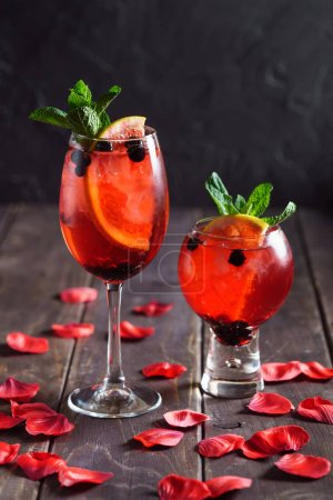 summer cocktail with berries, close up