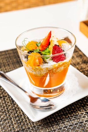 Photo for Summer vegan dessert with fresh fruits and berries - Royalty Free Image