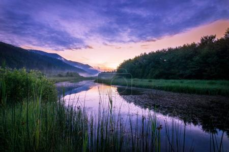 Foggy river in early morning, beautiful nature background
