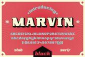 Slab serif retro typeface - Marvin Alphabet set for vintage typography poster design