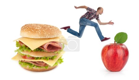 Photo for Choice between a junk food and healthy food. Concept - Royalty Free Image