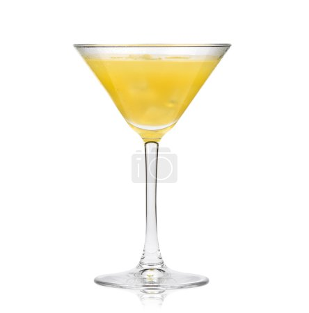 Photo for Yellow cocktail in martini glass isolated on a white background - Royalty Free Image