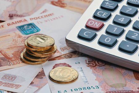 Russian ruble currency, money with calculator