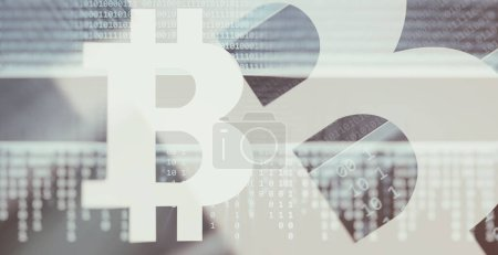Photo for Electronic money concept. Cryptocurrency. Bitcoin symbol background - Royalty Free Image