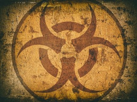 Photo pour Symbole de danger biologique sur un mur de pierre fissurée. Grunge arrière-plan - image libre de droit