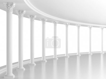 Photo pour Intérieur classique blanc avec colonnes (rendu 3D ) - image libre de droit