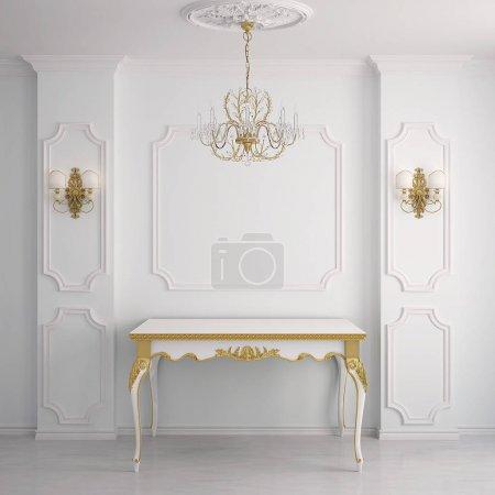 Photo pour Intérieur de style classique. rendu 3D. (Intérieur de style classique avec colonnes ) - image libre de droit