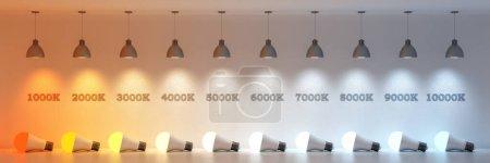 Photo pour Diagramme de la température de la lumière dans Kelvins (rendu 3d ) - image libre de droit