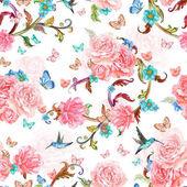 """Постер, картина, фотообои """"Красивые цветы и птицы"""""""
