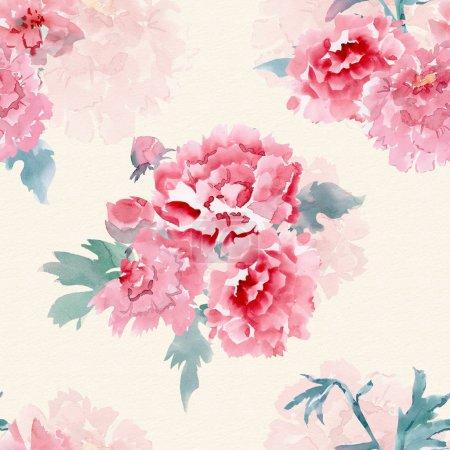 Photo pour Vintage texture transparente avec des fleurs stylisées pour votre conception. peinture aquarelle - image libre de droit