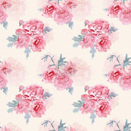Photo pour Féminine texture transparente avec des fleurs stylisées pour votre conception. peinture aquarelle - image libre de droit