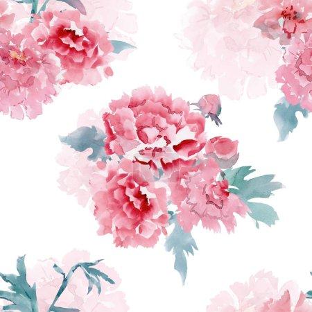 Photo pour Coloré texture transparente avec des fleurs stylisées pour votre conception. peinture aquarelle - image libre de droit