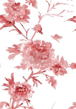 Photo pour Encre transparente texture avec des motifs floraux. peinture aquarelle - image libre de droit