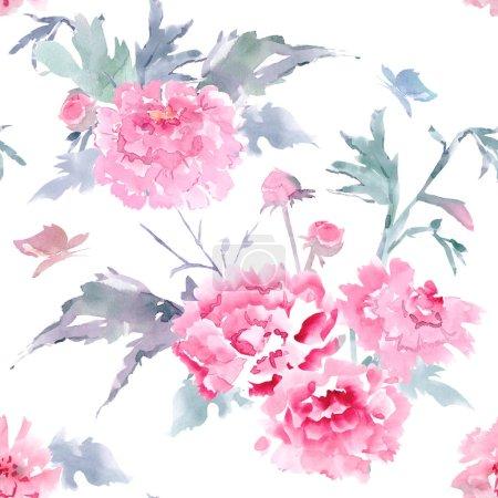 Photo pour Vintage texture seamless floral pour votre conception. peinture aquarelle - image libre de droit