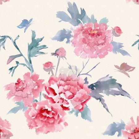 Photo pour Abstrait texture seamless floral pour votre conception. peinture aquarelle - image libre de droit