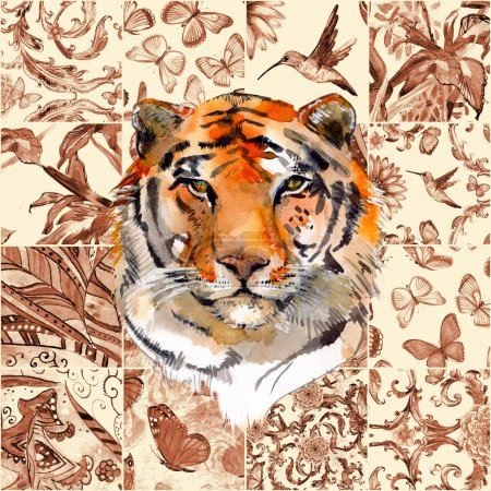 Photo for Monochrome sepia seamless texture with fashion patchwork pattern and a tiger. watercolor painting - Royalty Free Image