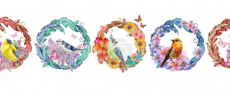 seamless border with floral arabesques and birds