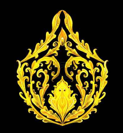 golden fancy arabesque on black background. watercolor painting