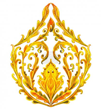 Photo pour Arabesque fantaisie dorée. peinture aquarelle - image libre de droit