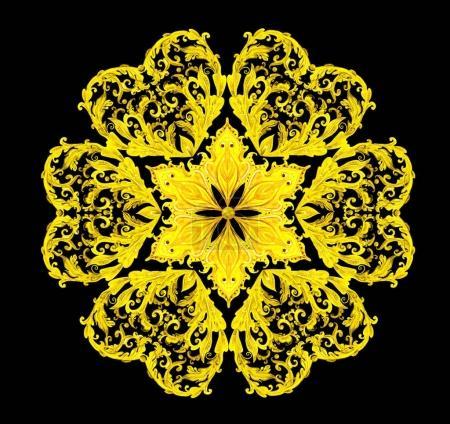 golden floral arabesque on black background