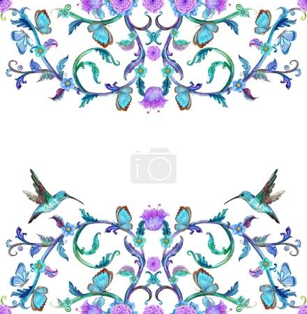 invitation card with floral vignettes and hummingbirds and butterflies isolated on white background