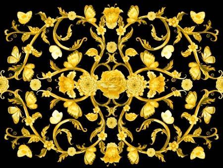 Photo pour Riche arabesque doré avec fleurs et papillons - image libre de droit