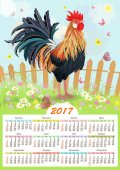 Calendar for 2017 with colorful lovely cockerel in summer rural scenery