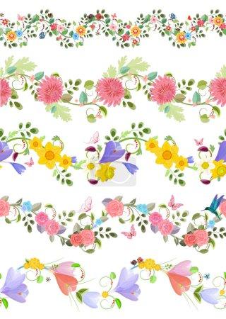Illustration pour Ensemble floral de mode de bordures sans couture avec des roses, crocus, chrysanthèmes, jonquilles pour votre conception - image libre de droit