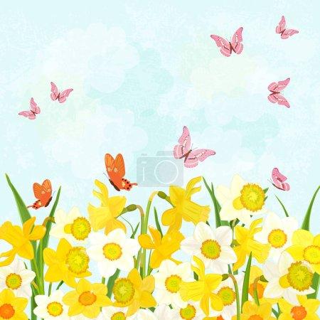 Illustration pour Champ de jonquilles en fleurs avec des papillons volants pour votre conception - image libre de droit