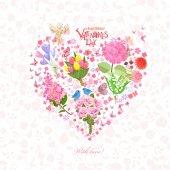 romantic floral heart