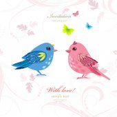 Funny couple birds with butterflies for your design vector illustration