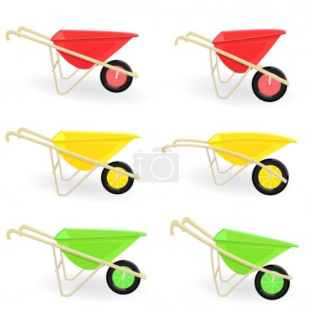 Collection of different colored wheelbarrows carts...