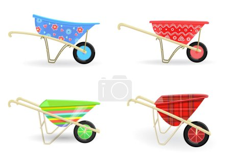Illustration for Collection of colorful wheelbarrows carts with funny pattern for your design - Royalty Free Image