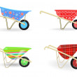 Collection of colorful wheelbarrows carts with fun...