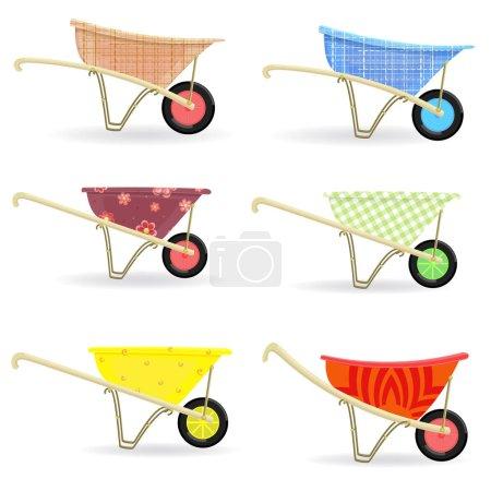 Collection of wheelbarrows carts with cute ornamen...