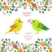 Invitation card with colorful birds for your design Vector illustration