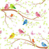 seamless texture with cute birds on trees