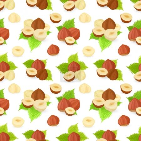 Pattern with hazelnuts and leaves