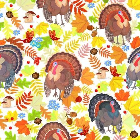 seamless pattern with turkeys
