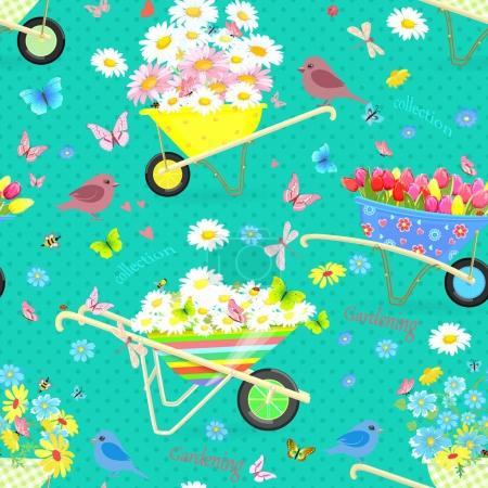 Retro seamless texture with funny wheelbarrows ful...