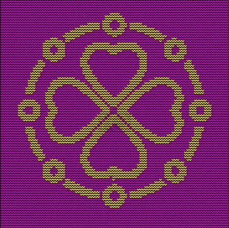 Knitting pattern ornate decorative symbol.