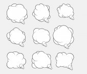 Set of nine vector talking bubbles with white fills and gray background