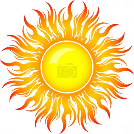 Illustration for Decorative vector bright colorful sun symbol with long rays - Royalty Free Image