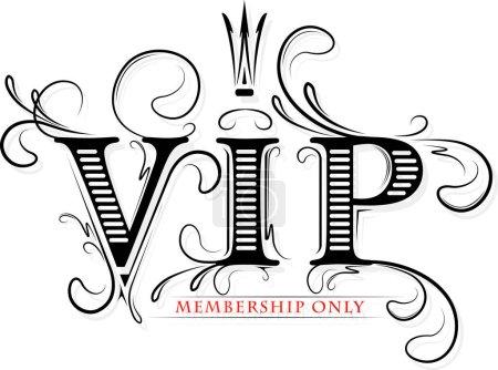 Illustration pour Carte VIP riche décorée uniquement avec couronne en gamma noir et rouge . - image libre de droit