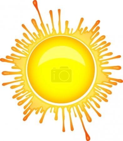 Sun symbol in inkblot style