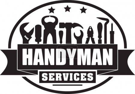 Illustration pour Handyman services vectoriel solide timbre de gubber pour votre logo ou emblème avec bannière et ensemble d'outils de travailleurs. Il y a clé, tournevis, marteau, pinces, fer à souder, ferraille . - image libre de droit