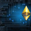 Virtual symbol of the coin ethereum on binary code...