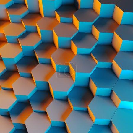 Photo pour Rendu 3d de fond géométrique hexagonal - image libre de droit