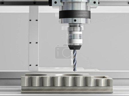 Photo pour Machine CNC en action rendu 3d - image libre de droit