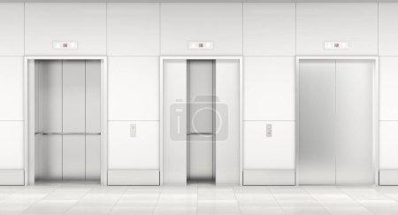 Modern steel elevatore 3d rendering image...